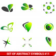 Set of green abstract symbols — Stock Vector