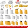 Set of blank shopping bags, carts and giftboxes - Stock Vector