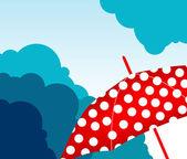 Skyline with umbrella — Stock Vector