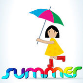 Cute summer girl with umbrella — Stock Vector
