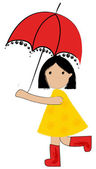 Cute girl under umbrella — Stock Vector