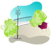 Cute park illustration — Stock Vector