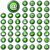 Large set of glossy green web buttons — Stock Vector