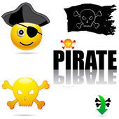 Set of pirate symbols — Stock Vector