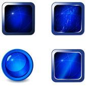 Vector set of blank green metal web buttons — Stock Vector