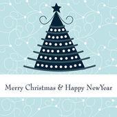 Cute Christmas tree greeting card — Stock Vector