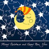 Beautiful Christmas midnight sky background — Stock Vector