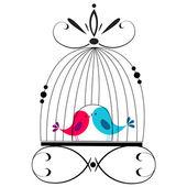 Roztomilé ptáky líbání — Stock vektor