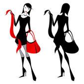 Elegant shopping woman — Stock Vector