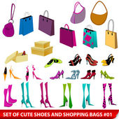 Set of elegant shoes and shopping bags illustration — Stock Vector