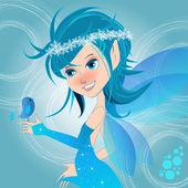 Schattig winter fairy illustratie — Stockvector