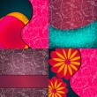 Beautiful floral background set — Stock Vector