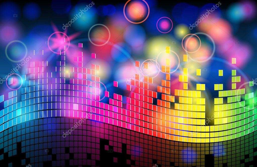 Vector elegant blurry, glowing, glittering colorful music background — Stock Vector #7119293