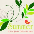 Cute summer bird illustration — Stock Vector