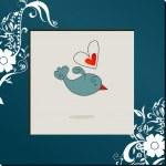 Cute bird in love — Stock Vector
