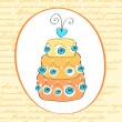 Stock Vector: Cute retro wedding cake card