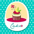 Cute retro wedding cake card — Vector de stock #7121799