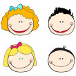 Cute kid faces - Stock Vector
