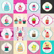 Stok Vektör: Set of cute retro cupcake cards