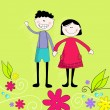 Cute boy and girl — Image vectorielle