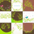 Royalty-Free Stock Vectorielle: Cute floral background set