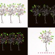 Set of beautiful floral trees illustration — Stock Vector