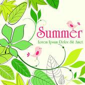Cute summer birds illustration — Stock Vector