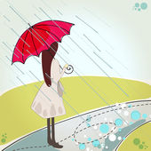 Cute girl with umbrella — Stock Vector