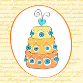 Cute retro wedding cake card — Vector de stock