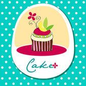 Cute retro wedding cake card — Stock Vector