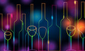 Elegant glowing bottles and glasses illustration — Vector de stock