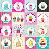 Set di carte carino cupcake retrò — Vettoriale Stock