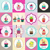 Set of cute retro cupcake cards — Vettoriale Stock