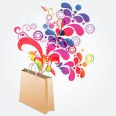Floral shopping bag — Stock Vector