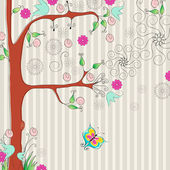 Beautiful spring floral tree with butterflies — Stockvector