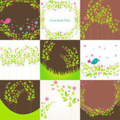Cute floral background set — Stock Vector