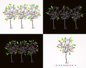 Set of beautiful floral trees illustration — Vecteur
