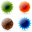 Set of abstract, glossy four seasons icons - Imagen vectorial