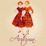 Elegant autumn vintage fashion ladies — Stock Vector
