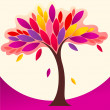 Cute colorful autumn tree illustration — Stock Vector