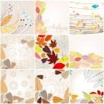 Set of cute autumn illustrations — Stock Vector