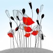 Beautiful poppies illustration - Stock Vector