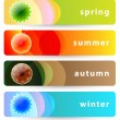 Set of horizontal four seasons banners: summer, autumn, winter a — Vector de stock #7325511