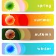 Set of horizontal four seasons banners: summer, autumn, winter a — Stock Vector