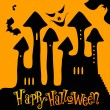 Cute Halloween haunted castle illustration — Stock Vector