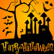 Cute Halloween haunted castle illustration - Stock Vector