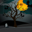 Cute Halloween illustration with bats and old tree — Imagens vectoriais em stock