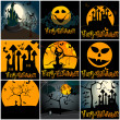 Set of cute Halloween illustrations — Stock Vector