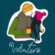 Cute hand drawn style winter couple — 图库矢量图片