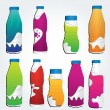 Set of realistic white plastic bottles with colorful labels — Stock Vector